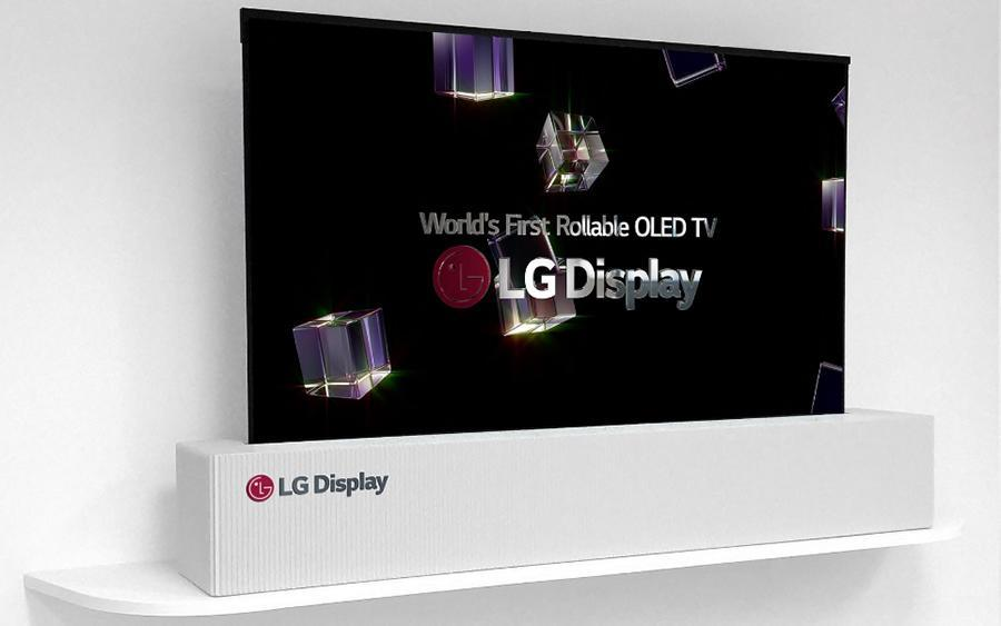 LG's prototype TV rolls upward or downward into the box below, to fit the video material.