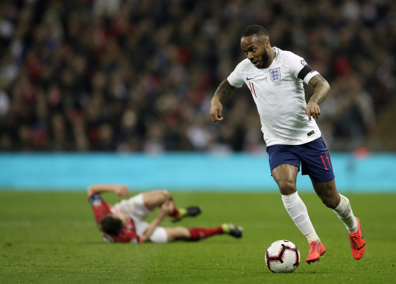 England's Raheem Sterling controls the ball during the Euro 2020 group A qualifying soccer match between England and the Czech Republic at Wembley stadium in London, Friday March 22, 2019. (AP Photo/Tim Ireland)