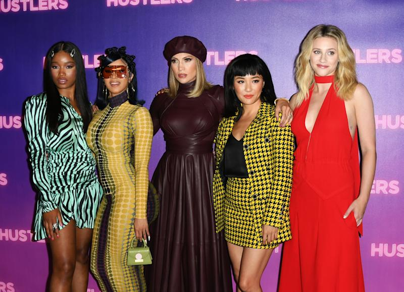 "LOS ANGELES, CALIFORNIA - AUGUST 25: Keke Palmer, Cardi B, Jennifer Lopez, Constance Wu and Lili Reinhart attend the Photo Call For STX Entertainment's ""Hustlers"" at Four Seasons Los Angeles at Beverly Hills on August 25, 2019 in Los Angeles, California. (Photo by Jon Kopaloff/FilmMagic)"