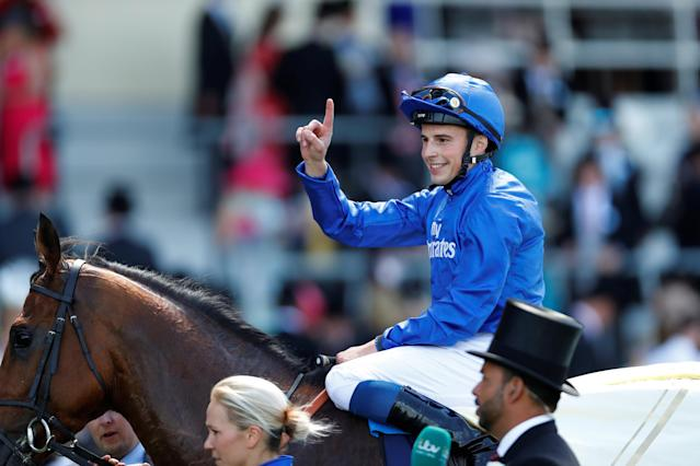 Horse Racing - Royal Ascot - Ascot Racecourse, Ascot, Britain - June 22, 2018 William Buick celebrates after winning the 3.05 King Edward VII Stakes on Old Persian Action Images via Reuters/Andrew Boyers