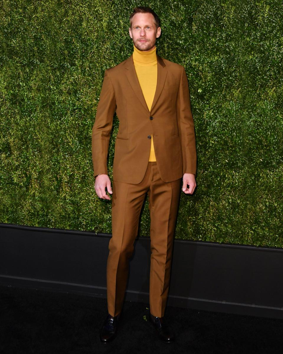 """<h1 class=""""title"""">April 30: Alexander Skarsgård</h1> <div class=""""caption""""> Colonel Mustard in the Garden with the Big Fit. </div> <cite class=""""credit"""">ANGELA WEISS</cite>"""