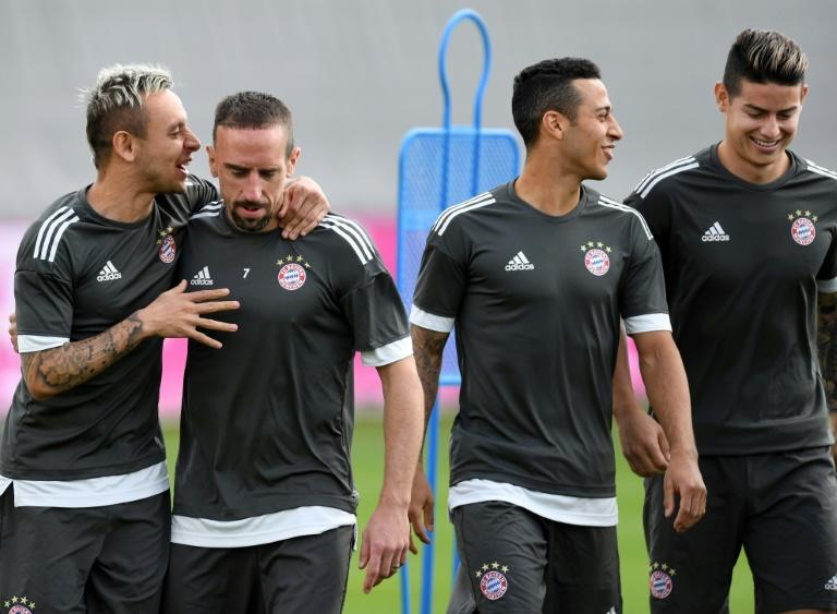 James Rodriguez (R) at Bayern training on Tuesday with (from left to right) Rafinha, Franck Ribery and Thiago Alcantara