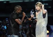 """<p>In a cruel move that's been likened to pig's blood being dumped on Carrie at the prom and is considered to be the craziest VMAs stunt ever, in 2009 Kanye ruined America's sweetheart's big moment when he hopped onstage to protest her winning the Best Female Video award over """"Single Ladies,"""" aka the BEST VIDEO OF ALL TIME. (Capslock is Kanye's, not Yahoo's.) It may have been the greatest thing that ever happened to Taylor's career, which took off as the entire music community sympathetically rallied around her. But it was still rude. Why you gotta be so mean, Kanye? (Source: Getty Images) </p>"""