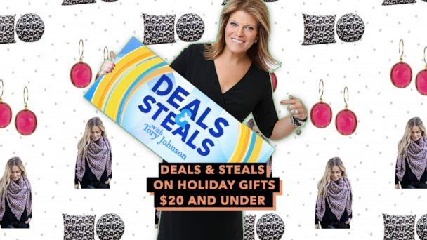PHOTO: Deals & Steals on holiday gifts $20 and under (ABC News Photo Illustration, Accessory Concierge, Amelia Rose, That Pillow Guy)