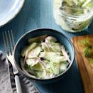 <p>This creamy cucumber salad is an easy side dish for any summer BBQ. Bright dill and white-wine vinegar add fresh tartness to cucumbers and red onions. Enjoy this salad the day you prepare it so the ingredients don't turn watery.</p>