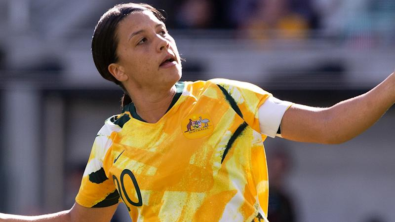 Matildas captain Sam Kerr was caught up in a brief dispute with budget airliner Jetstar over her passport, which the airline said was damaged. (Photo by Steve Christo - Corbis/Corbis via Getty Images)