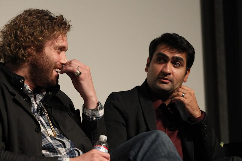 "LOS ANGELES, CA - MAY 03: (L-R) T. J. Miller and Kumail Nanjiani attend the ""Silicon Valley"" screening and panel at The Writer's Guild at Writer's Guild Theater on May 3, 2015 in Los Angeles, California. (Photo by FilmMagic/FilmMagic)"