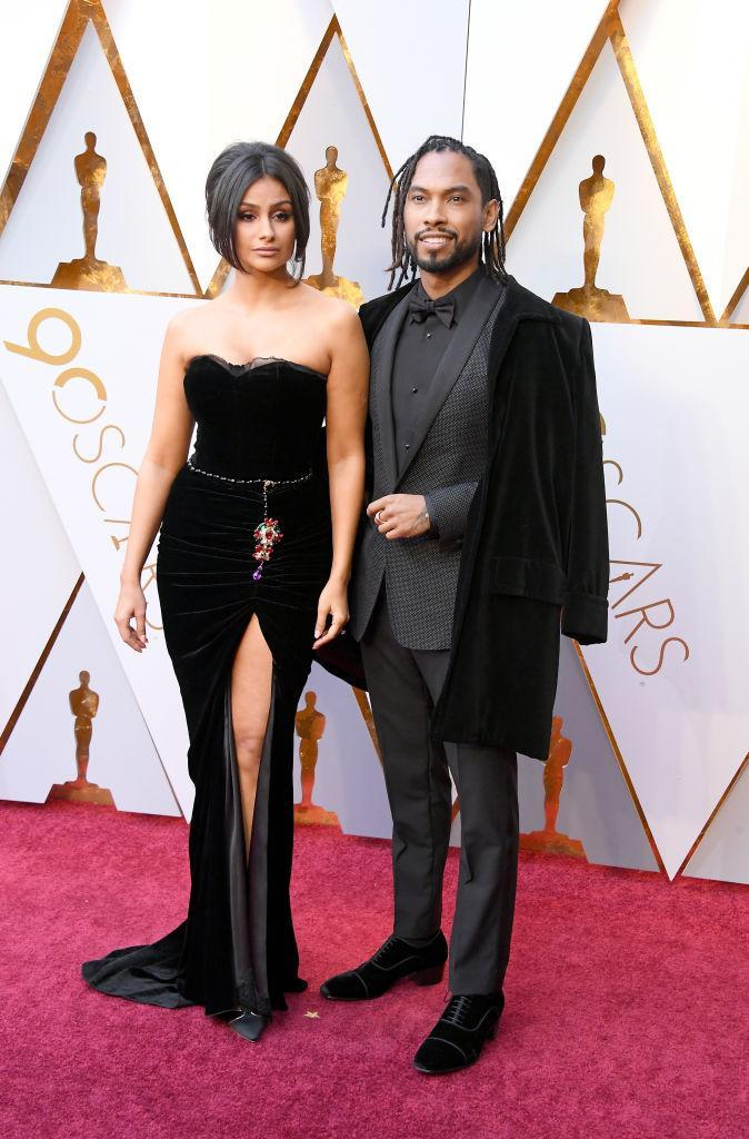 <p>Nazanin Mandi and Miguel attend the 90th Academy Awards in Hollywood, Calif., March 4, 2018. (Photo: Getty Images) </p>
