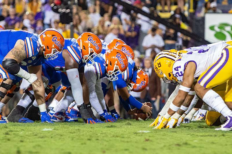 BATON ROUGE, LA - OCTOBER 12: The Florida Gators defense lines up for a play during a game between the Florida Gators and the LSU Tigers at Tiger Stadium, in Baton Rouge, Louisiana on October 12, 2019. (Photo by John Korduner/Icon Sportswire via Getty Images)