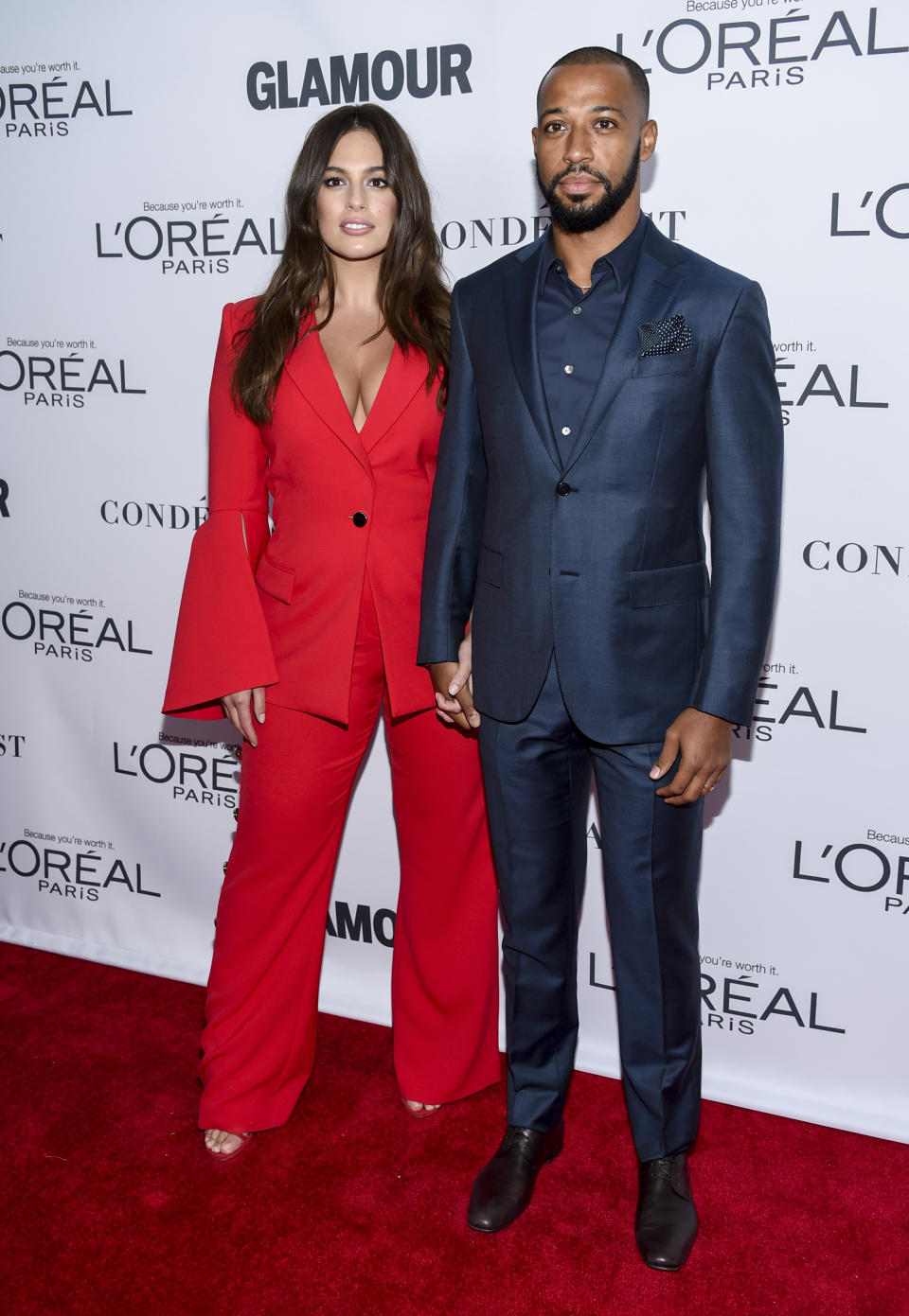 Ashley Graham, left, and husband Justin Ervin attend the 2017 Glamour Women of the Year Awards at Kings Theatre on Monday, Nov. 13, 2017, in New York. (Photo by Evan Agostini/Invision/AP)
