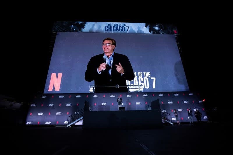 """Director and writer Aaron Sorkin introduces the film at a drive-in premiere for """"The Trial of the Chicago 7"""" at Rose Bowl in Pasadena"""