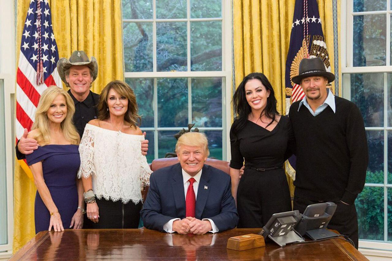 <p>On Wednesday night, Sarah Palin, Kid Rock and Ted Nugent were pictured in the Oval Office with the president. Nugent's wife, Shemane Deziel, and Audrey Berry, Kid Rock's fiancee. (Jake Tapper via Twitter) </p>