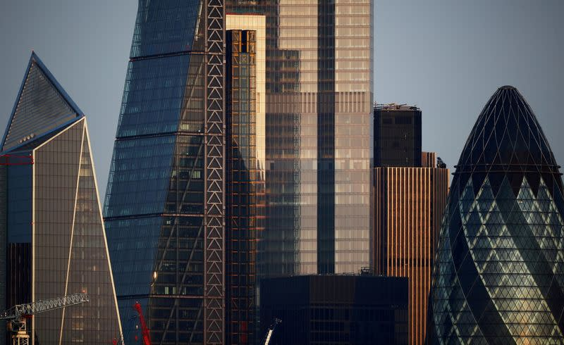 FILE PHOTO: FILE PHOTO: Skyscrapers in The City of London financial district are seen in London