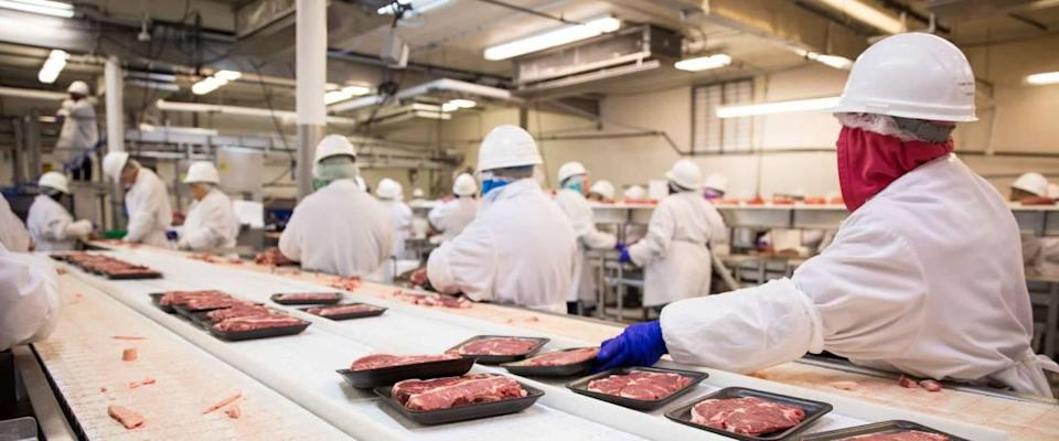 Workers handle the packaging shipment of meat at the plant.