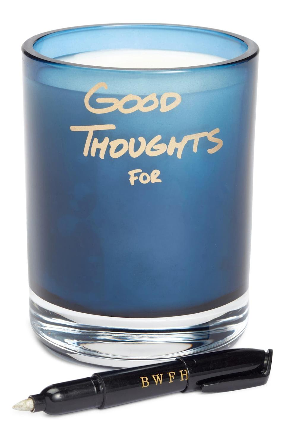 <p>This <span>Better World Fragrance House Good Thoughts Candle</span> ($48) doesn't just smell amazing, but it's so cool. You can write an inspirational message on it.</p>