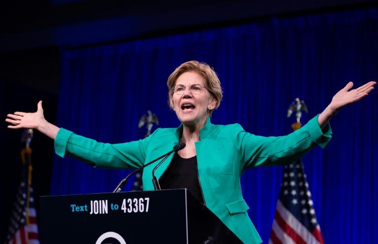 US senator and 2020 presidential hopeful Elizabeth Warren is riding a wave, with rising poll numbers and swelling campaign event crowds (AFP Photo/JOSH EDELSON)