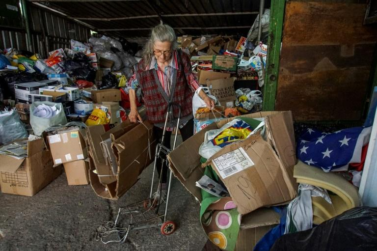 Former secretary Penka, 63, gets by collecting nylon and cardboard and handing it over to her local recycling depot in return for enough money to buy food for herself and her cats