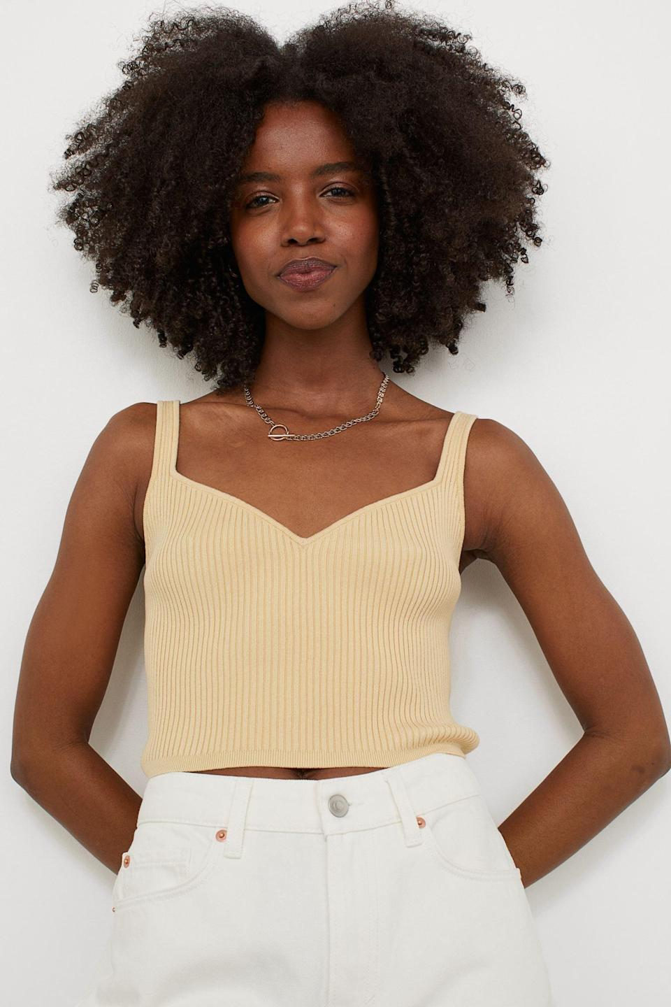 <p>Pair this <span>Rib-knit Top</span> ($10) with a slip skirt and some low-heeled sandals for a sultry and refined look.</p>