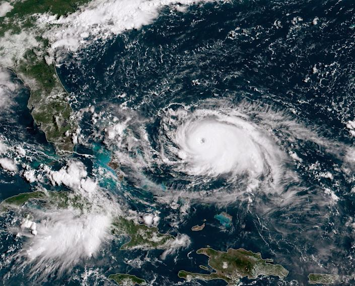 A satellite image shows Category 4 Hurricane Dorian tracking toward the Florida coast on Aug. 31, 2019, in the Atlantic Ocean. Dorian caused catastrophic damage in the Bahamas.