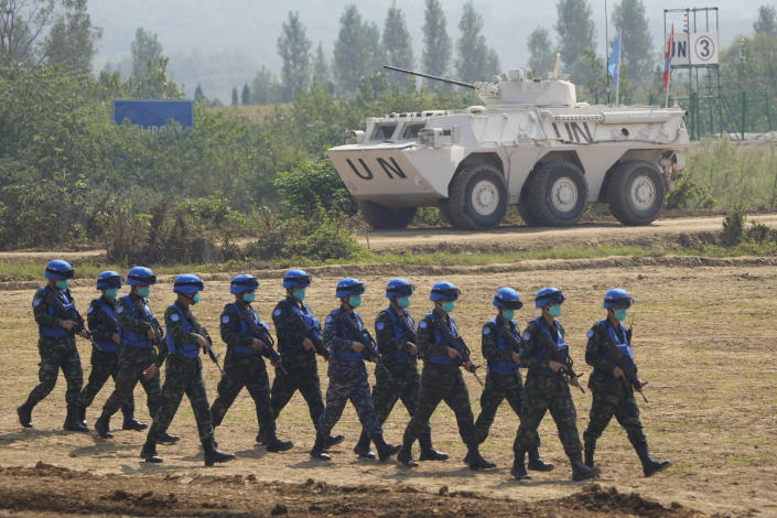 United Nations troop from Thailand take part in the Shared Destiny 2021 drill at the Queshan Peacekeeping Operation training base in Queshan County in central China's Henan province Wednesday, Sept. 15, 2021. Peacekeeping troops from China, Thailand, Mongolia and Pakistan took part in the 10 days long exercise that field reconnaissance, armed escort, response to terrorist attacks, medical evacuation and epidemic control. (AP Photo/Ng Han Guan)