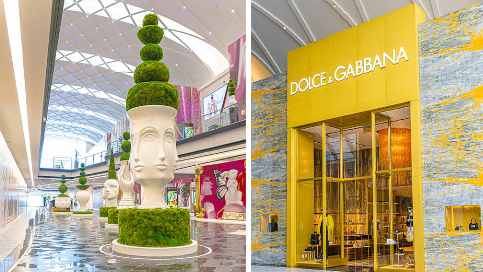 The Jonathan Adler-designed topiaries lining The Avenue; Dolce & Gabbana's storefront. - Credit: American Dream