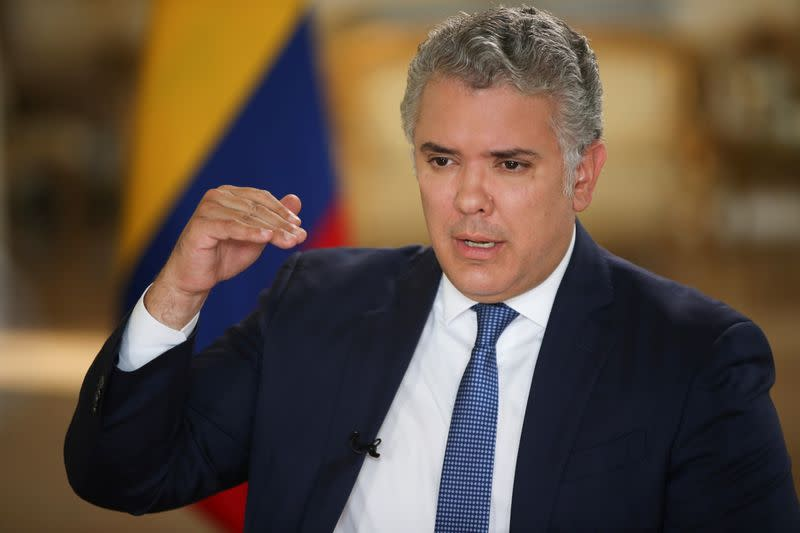 Colombia's President Ivan Duque speaks during an interview with Reuters in Bogota