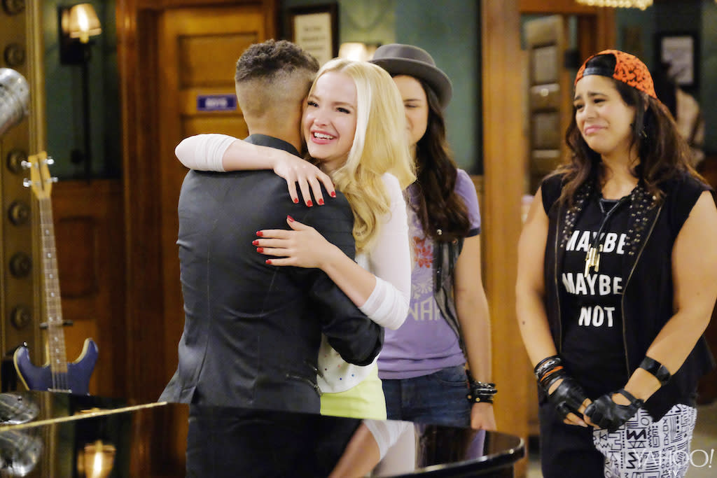 <p>We have a feeling this is just the beginning of the goodbyes as Liv (Dove Cameron) reunites with her Dream bandmate Holden Dippeldorf (special guest star Jordan Fisher) while fellow Dream members Andie and Willow (Victoria Moroles, Jessica Marie Garcia) get all emotional. (Credit: Tony Rivetti/Disney Channel) </p>