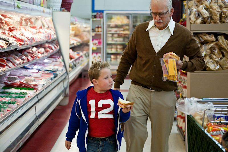 """This photo released by Paramount Pictures shows Jackson Nicoll, left, as Billy and Johnny Knoxville, as Irving Zisman in """"Jackass Presents: Bad Grandpa,"""" from Paramount Pictures and MTV Films. (AP Photo/Paramount Pictures, Sean Cliver)"""