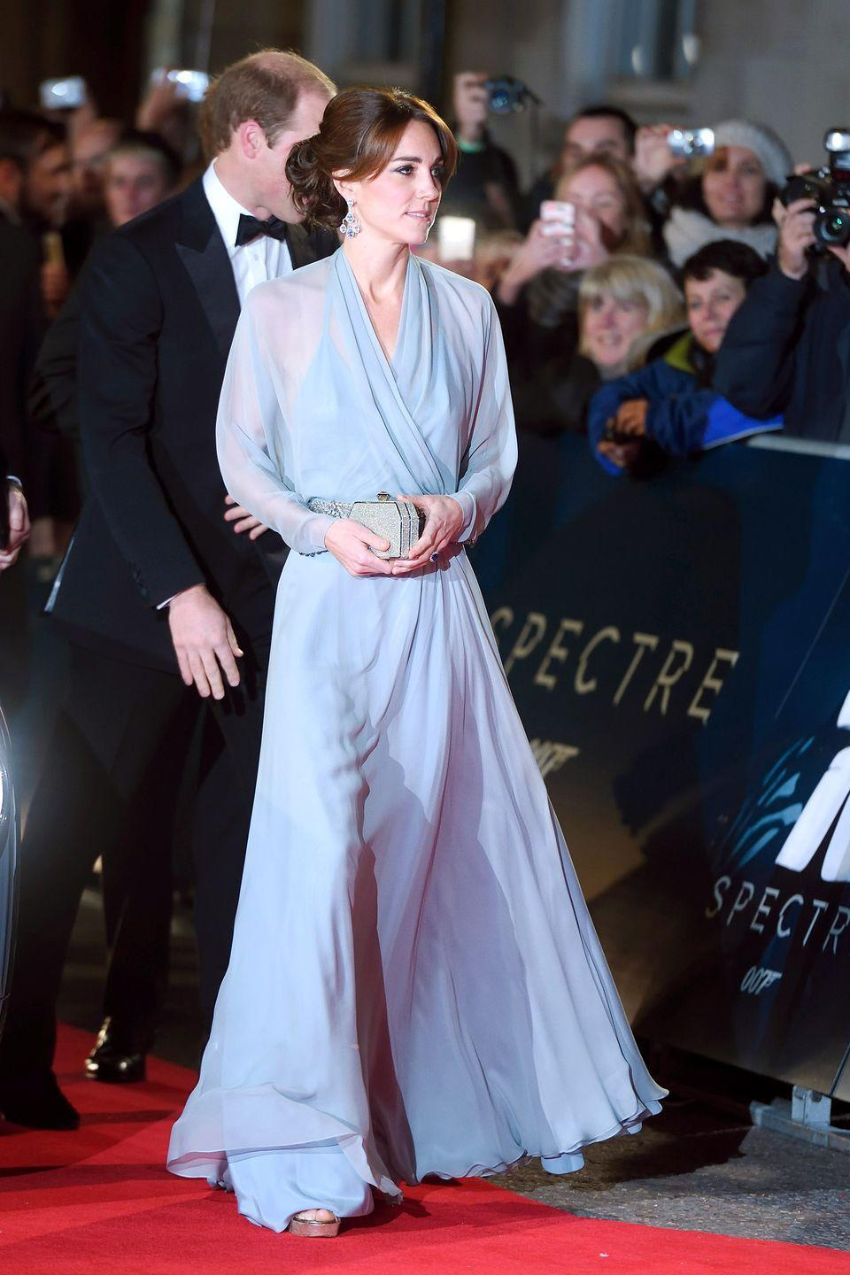 <p>Kate wears Jenny Packham at the premiere of <em>Spectre </em>at Royal Albert Hall in London.</p>
