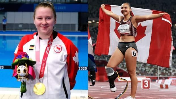 Canada's Danielle Dorris raced to a gold medal in the pool, while Canadian Marissa Papaconstantinou claimed bronze on the track at the Tokyo Paralympic Games.  (Milan Maglov/CBC, Buda Mendes/Getty Images - image credit)