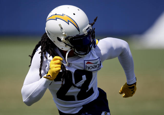 Los Angeles Chargers' Jason Verrett works out during practice at the NFL football team's minicamp Wednesday, June 13, 2018, in Costa Mesa, Calif. (AP Photo/Chris Carlson)