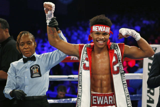 Shakur Stevenson is a whopping minus-12,500 favorite to defeat Juan Tapia on Friday night. (AP)