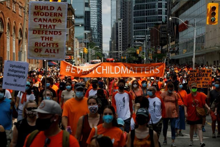 The march in Toronto was just one of several across the country as Canada reckons with its colonial past