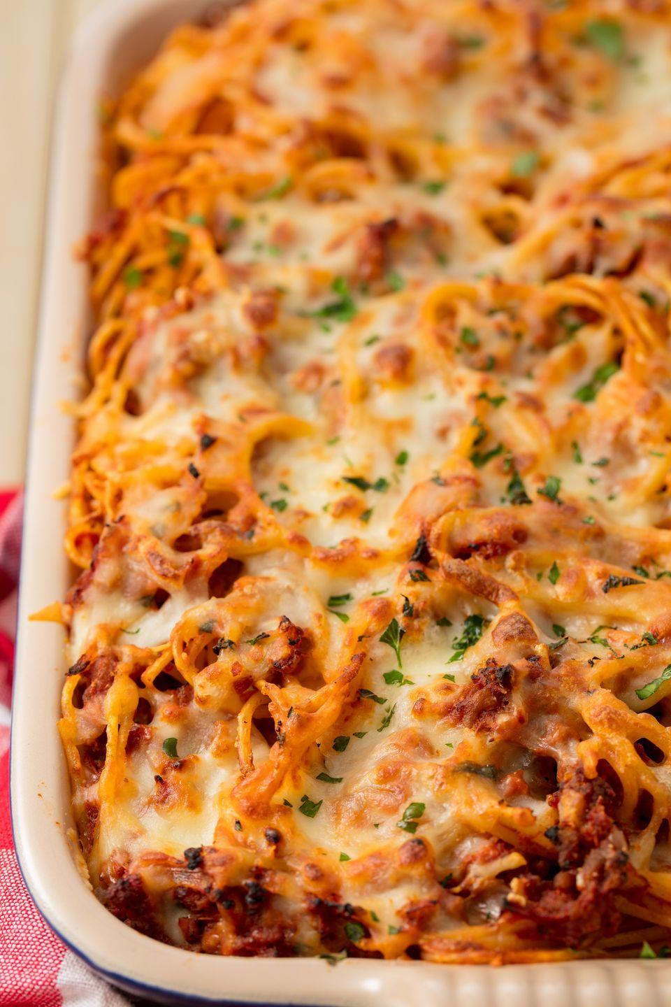 "<p>Nothing beats a heaping helping of spaghetti.</p><p>Get the recipe from <a href=""https://www.delish.com/cooking/recipe-ideas/recipes/a55510/easy-baked-spaghetti-recipe/"" rel=""nofollow noopener"" target=""_blank"" data-ylk=""slk:Delish"" class=""link rapid-noclick-resp"">Delish</a>. </p>"