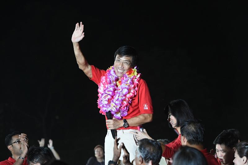 Singapore Democratic Party candidate Chee Soon Juan speaks to supporters after being defeated by People's Action Party candidate Murali Pillai in a by-election on May 7, 2016