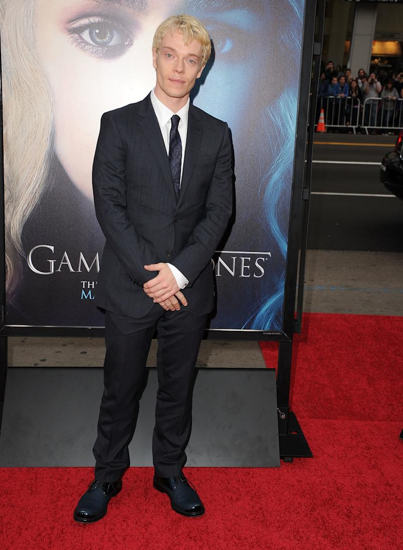 Alfie Allen, who plays Theon Greyjoy, at the premiere of Game of Thrones season three in Hollywood, California, March 2013.