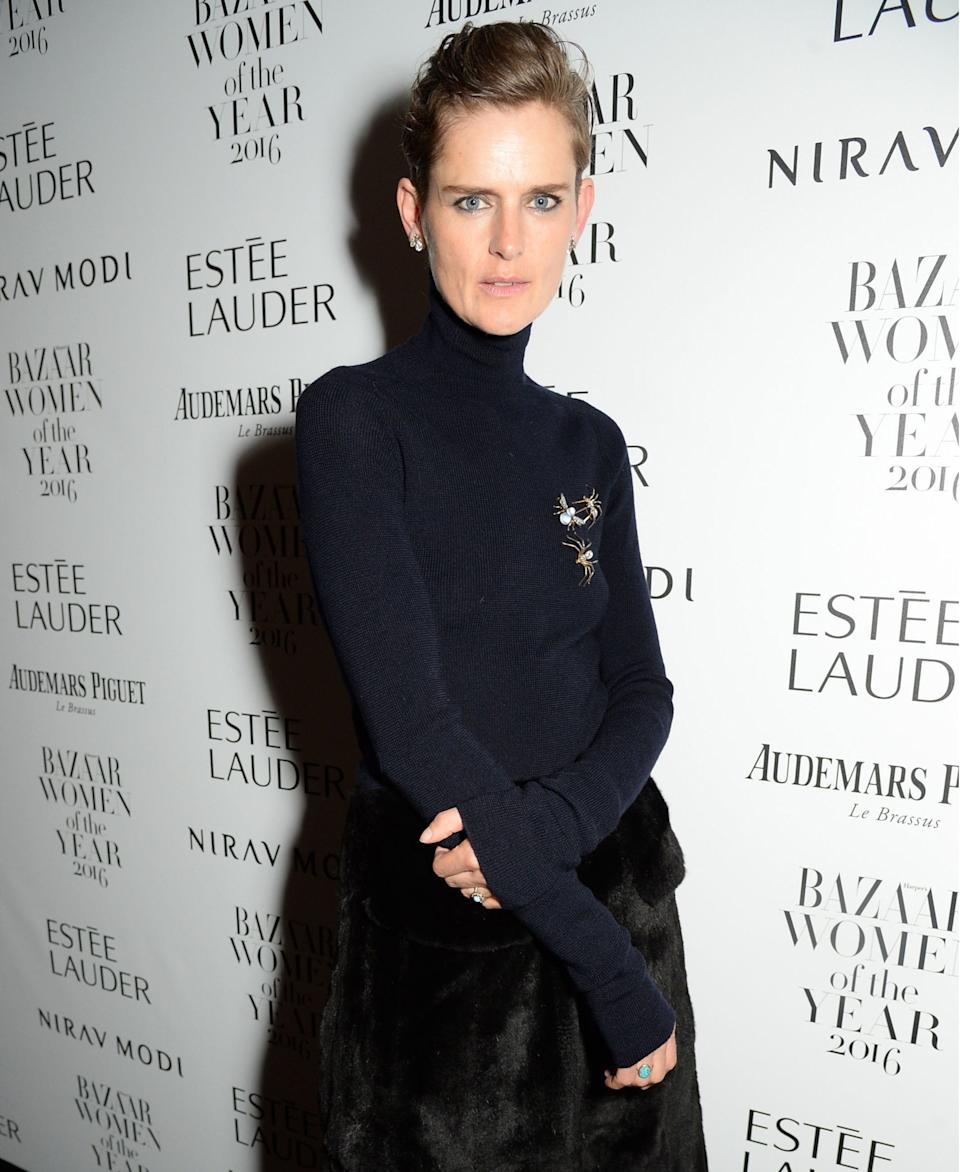 Stella Tennant went for a sleek silhouette when she won at the 2016 Harper's Bazaar Women of the Year AwardsRex Features