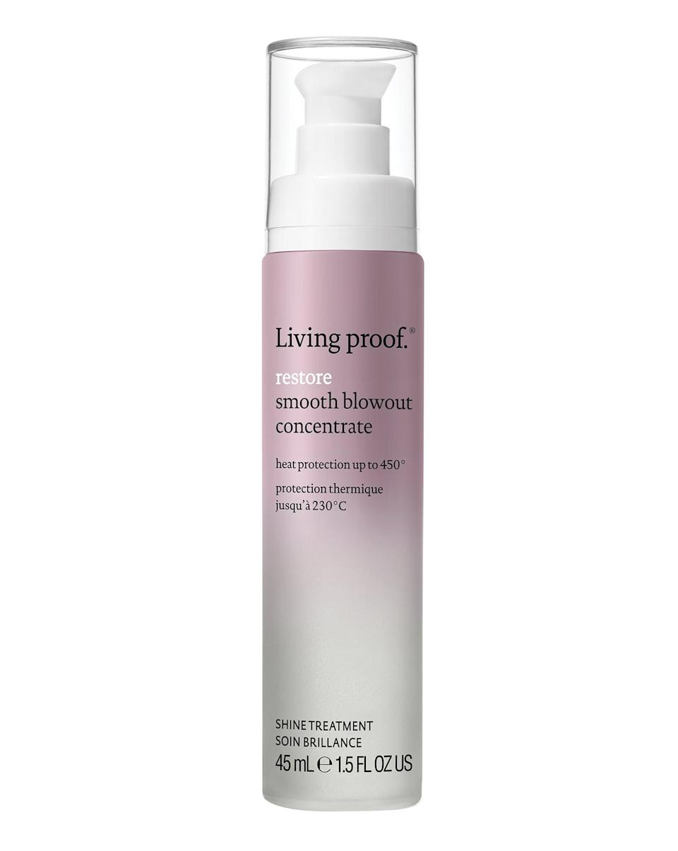 """<p>""""For hair that is extra challenging, the <span>Living Proof Restore Smooth Blowout Concentrate</span> ($29) creates a smooth, sleek blowout that lasts for days,"""" Douglas said. </p>"""