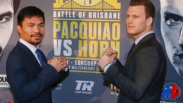 Pacquiao and Horn. Image: Getty