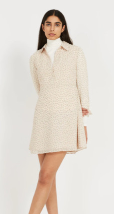 Printed Button Up Fit and Flare Chiffon Dress