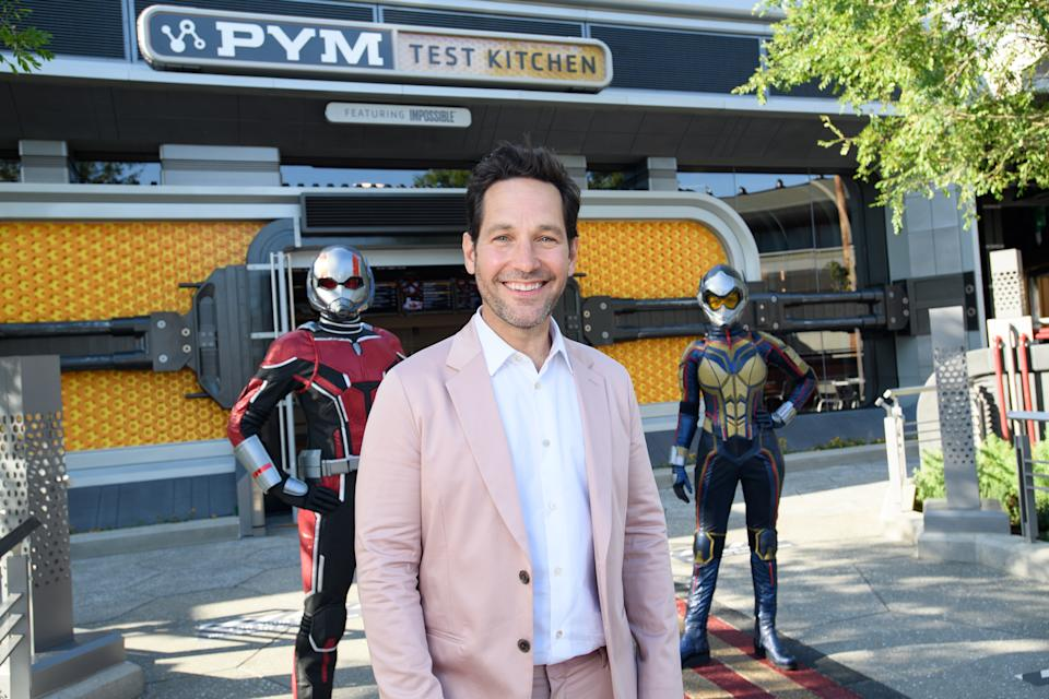 ANAHEIM, CALIFORNIA - JUNE 2: In this handout photo provided by Disneyland Resort, Paul Rudd tours the Avengers Campus at Disney California Adventure Park on June 2, 2021 in Anaheim, California. The Avengers Campus opens to the public at the Disneyland Resort on June 4, 2021. (Photo by Richard Harbaugh/Disneyland Resort via Getty Images)