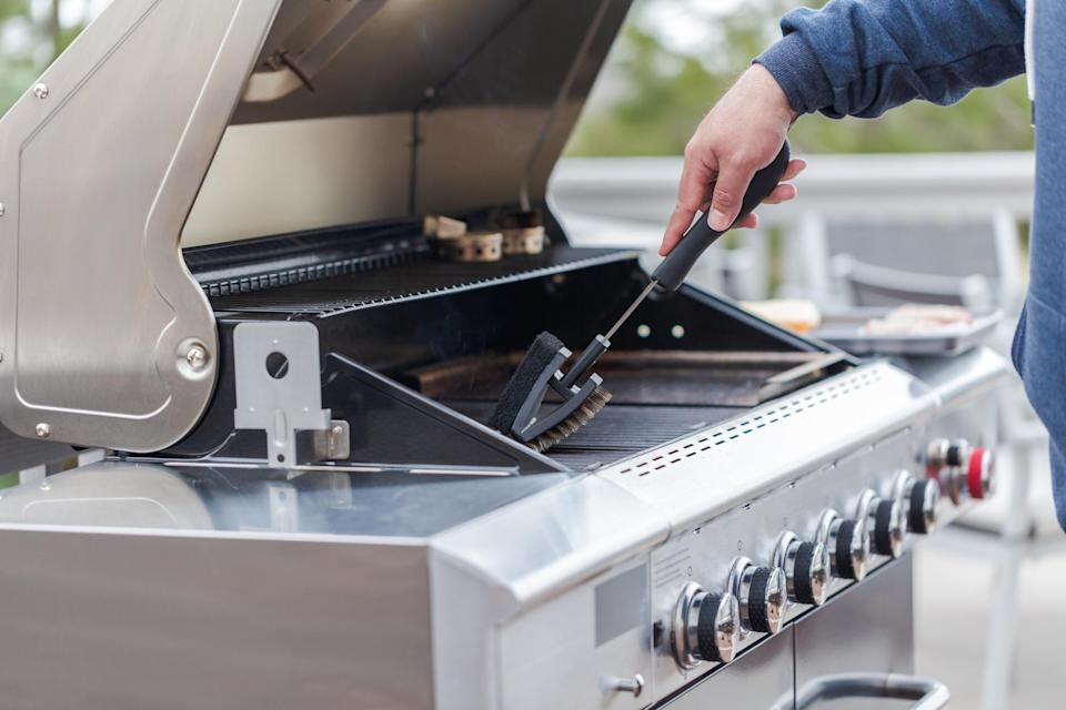 """<p>Frequent grillers might notice dried residue building up on the grates after a while. But it can be easily removed with this <a href=""""https://www.amazon.com/GRILLART-Grill-Brush-Stainless-Bristles/dp/B075NC2MYB//ref=as_li_tl?ie=UTF8&amp%3Bcamp=1789&amp%3Bcreative=9325&amp%3BcreativeASIN=B075NC2MYB&amp%3BlinkCode=as2&amp%3Btag=thedailymeal-editorial-referral-20&referrer=yahoo&category=beauty_food&include_utm=1&utm_medium=referral&utm_source=yahoo&utm_campaign=feed"""" rel=""""nofollow noopener"""" target=""""_blank"""" data-ylk=""""slk:grill scraper and brush"""" class=""""link rapid-noclick-resp"""">grill scraper and brush</a>.</p>"""