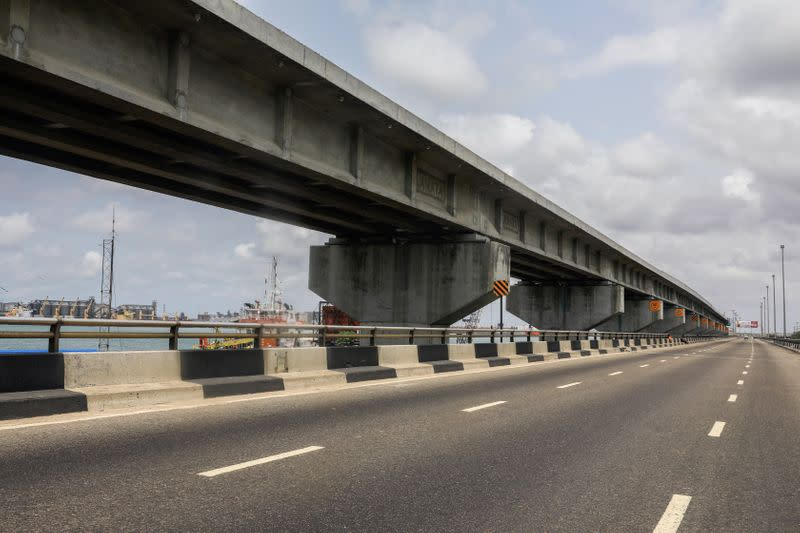 An empty road is pictured in the deserted central business district on the first day of a 14-day lockdown aimed at limiting the spread of coronavirus disease (COVID-19) in Lagos