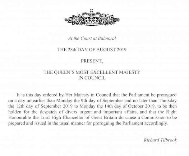 PHOTO: This handout image provided by the Privy Council shows a notification that the Queen has approved a request to suspend Parliament, on Wednesday, Aug. 28, 2019. (Privy Council/AP)