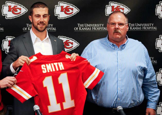 andy reid wife. in 2012, smith threw the ball 21 or more yards downfield 17 times 218 total attempts. he completed eight of those passes for 273 yards, three touchdowns, andy reid wife