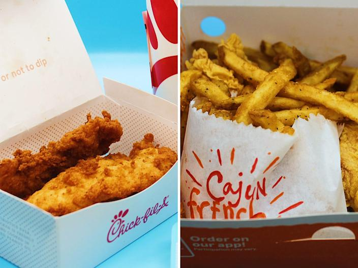 chick fil a chicken tenders popeyes box fries