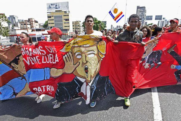 PHOTO: Supporters of Venezuelan President Nicolas Maduro demonstrate against President Donald Trump during a pro-government May Day rally in Caracas on May 1, 2019. (Juan Barreto/AFP/Getty Images)