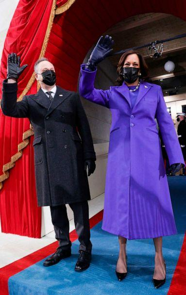 PHOTO: Vice President-elect Kamala Harris and her spouse Doug Emhoff arrive for the inauguration of Joe Biden as the 46th President of the United States on the West Front of the Capitol in Washington, D.C., Jan. 20, 2021. (Jonathan Ernst/POOL/AFP via Getty Images)