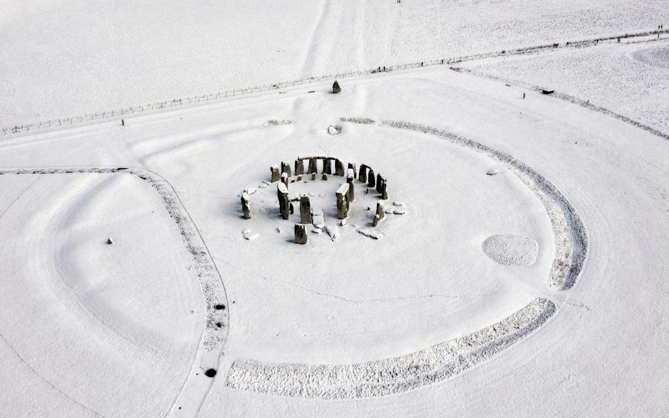 Stonehenge got its first real snow of the year