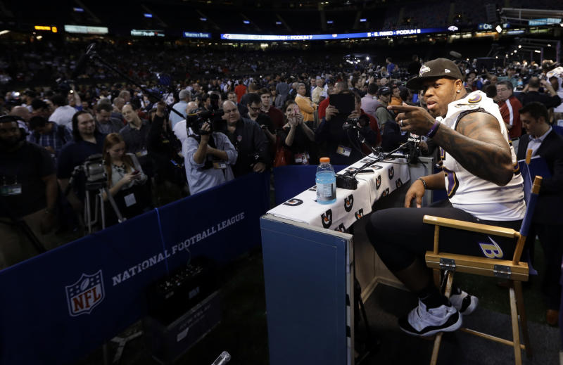 Suggs, Webb, stand out at Super Bowl media day